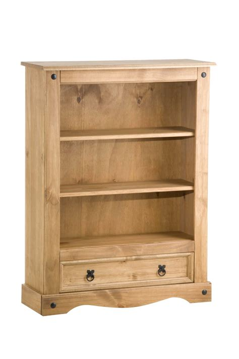 Low Bookcase Wood by Corona 1 Drawer Low Bookcase Wood Mexican Pine New Ebay