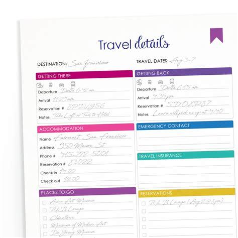 printable travel itinerary shop fresh