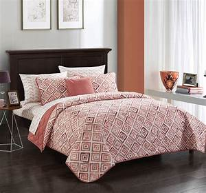 Mainstays, Terracotta, Diamond, Bed, In, A, Bag, Quilt, Set, With