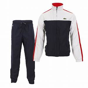 lacoste sport lacoste wh9378 white navy red tracksuit