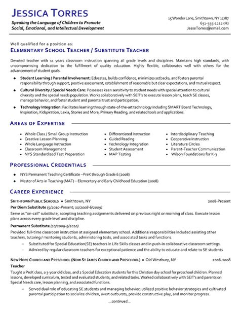 Skills For Teaching Resume by Substitute Resume Exle