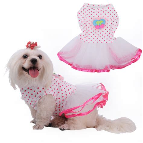 embroidery dog dresses girls clothes  dogs cat wear