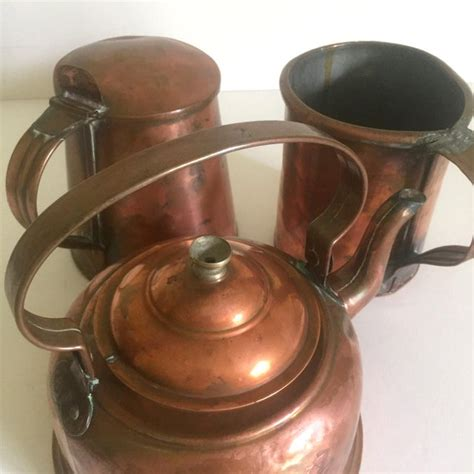 antique  century french country hand forged rustic copper cookware set   chairish