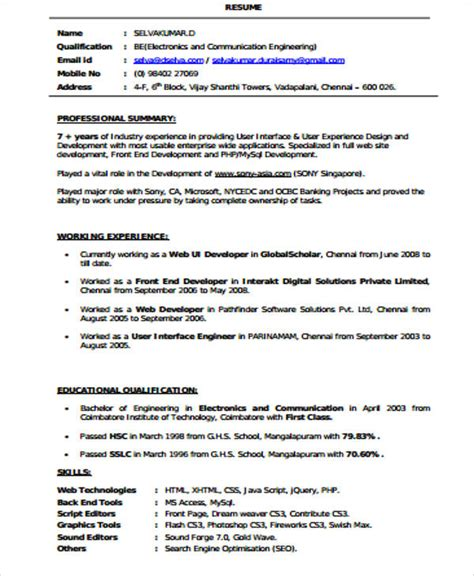 Front End Web Developer Objective Resume by Sle Front End Developer Resume 7 Exles In Word Pdf