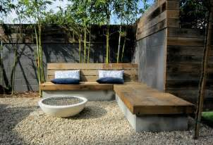 backyard built in seating garden outdoor