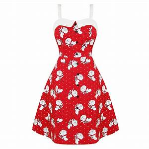 Robe femme dead threads pin up annees 50 rouge fleur rose for Robe rouge à fleurs