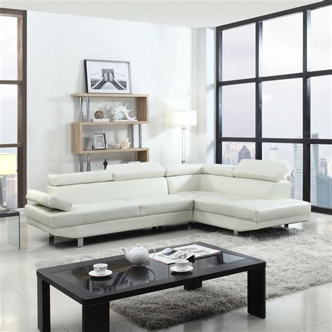 Modern Contemporary White Faux Leather Sectional Sofa