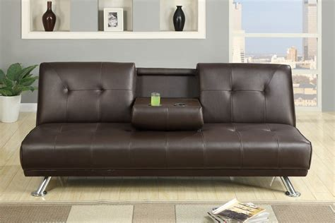 Sofa Bed Cup Holder by Espresso Faux Leather Sofa Bed With Cup Holders
