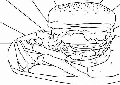Burger Pages Chips Coloring Colouring King Sheet