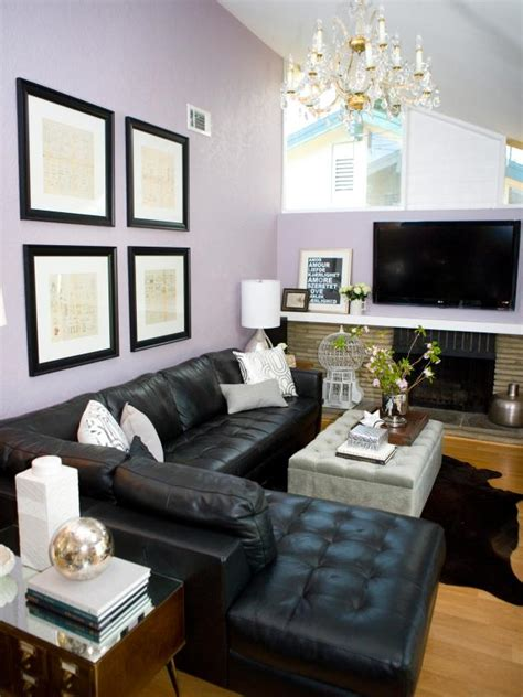 Transitional Living Room Leather Sofa by Photo Page Hgtv