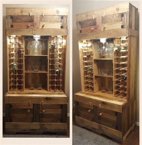 diy rustic wine  liquor cabinet  recessed lighting