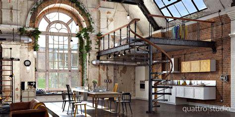 table cuisine avec chaises loft industriel en 3d par quattro studio