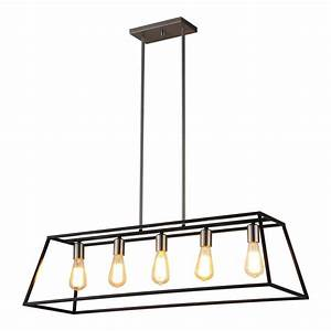 Pendant lighting island bench : Ove decors agnes in black linear rectangle led