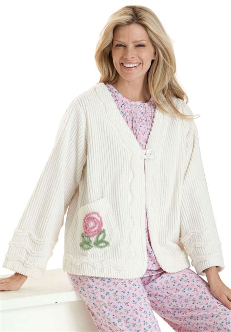 women s plus size robe bed jacket length in plush chenille