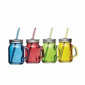 Mason Jar Paille : mini verre mason jar color avec paille 100ml x4 bar ~ Teatrodelosmanantiales.com Idées de Décoration