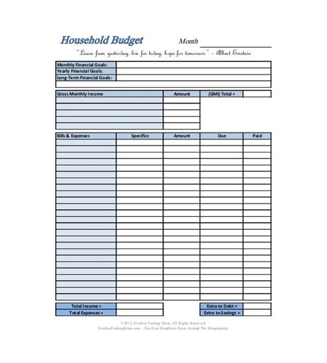 household budget templates  sample