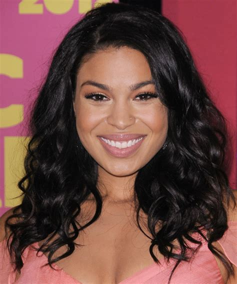 jordin sparks casual long wavy hairstyle black hair color