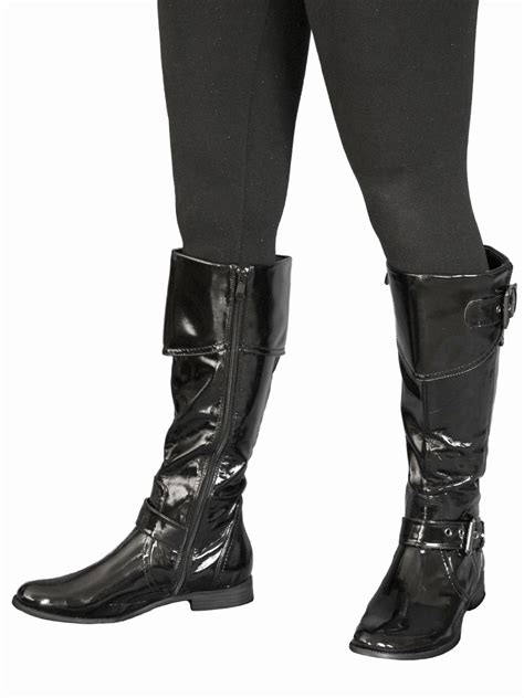 Black Patent Knee Boots Pirate Style Tout Ensemble