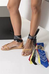 Wrap Around Ankle Sandals With Interchangeable Bandana