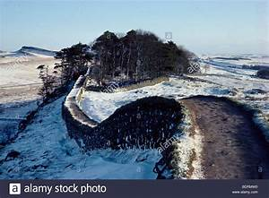 Hadrian's Wall in snow, Cumbria Stock Photo, Royalty Free