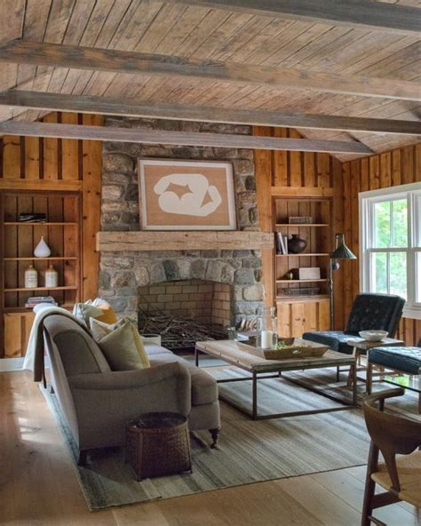 rustic cottage living space  vaulted wooden ceiling hgtv