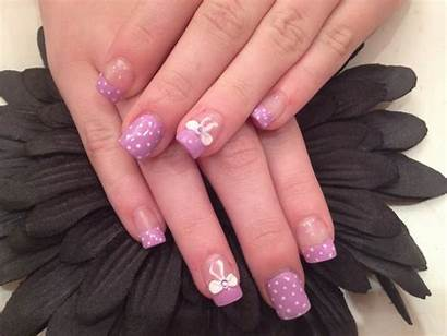 Acrylic Nails Lilac Bows 3d Polish Nail