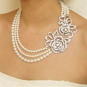 Statement pearl wedding bridal necklace vintage style rose for Wedding ring necklace