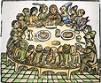 The Canterbury Tales 1483 Nthe Pilgrims At Table Engraving ...