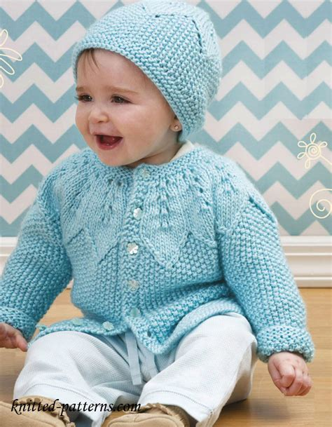 baby sweaters to knit baby cardigan and hat knitting pattern free