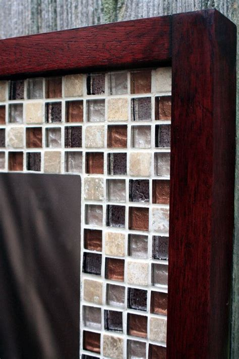 Tile Bathroom Mirror Frame by Glass Mosaic Tile Framed Mirror Brown Merlot Finish 30 X