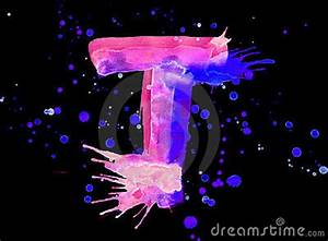Neon Watercolor Paint Letter T Royalty Free Stock