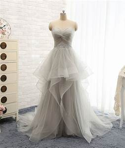 lovely wedding dresseslong wedding gowntulle wedding With light gray wedding dress