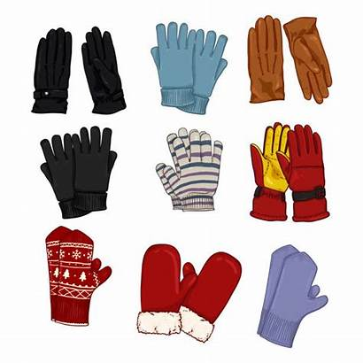 Gloves Leather Vector Cartoon Illustrations Clip Mittens
