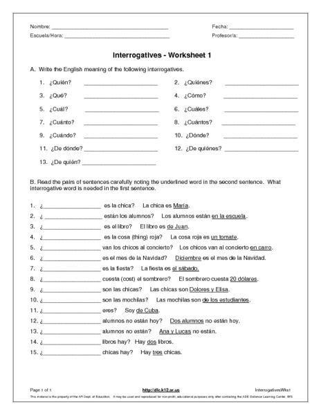 interrogatives 6th 7th grade worksheet lesson pla