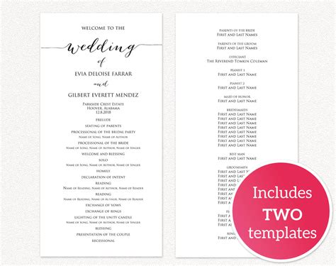 wedding programs wedding templates  printables