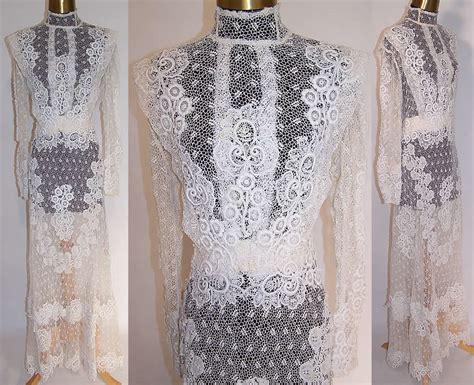 Fab Edwardian Antique White Irish Crochet Lace Applique