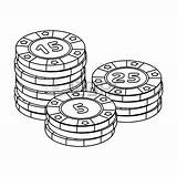 Chips Poker Drawing Stack Playing Getdrawings Blocks Pile sketch template