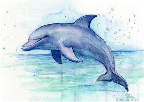 dolphin art dolphin watercolor painting dolphin print