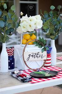 Beautiful, Red, White, And, Blue, Table, Decorations, For, July, 4th
