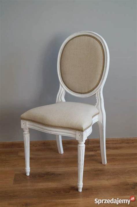 krzesła ludwikowskie shabby chic len 4 szt stalowa wola sprzedajemy pl