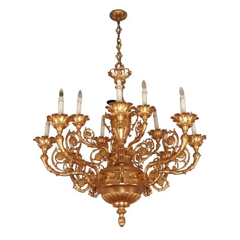 Oversized Chandeliers by Salvaged Waldorf Ornate Gold Gilt Oversized Chandelier