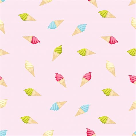 Ice Cream Pattern Background Vector  Free Download