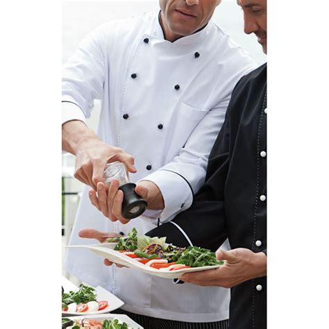 vestes de cuisine veste chef de cuisine manches longues surpiquage décoratif et passepoil