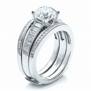 custom baguette channel engagement ring with jacket 100053 With wedding ring jackets