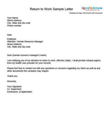 examples   return  work letter