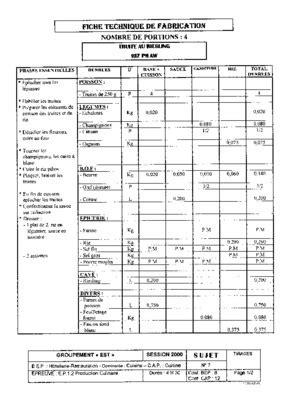 fiche technique cuisine pdf fiche technique pour fabrication vetement listes des