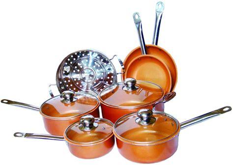 piece copper cookware set luxury induction nonstick skillet