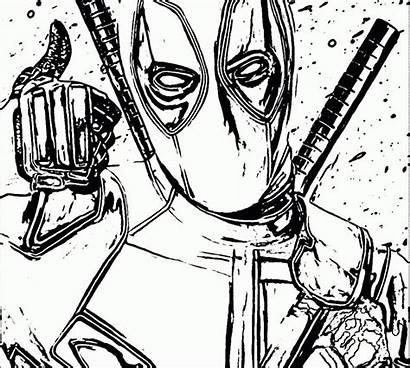 Extreme Coloring Pages Deadpool Printable Symbol Hard