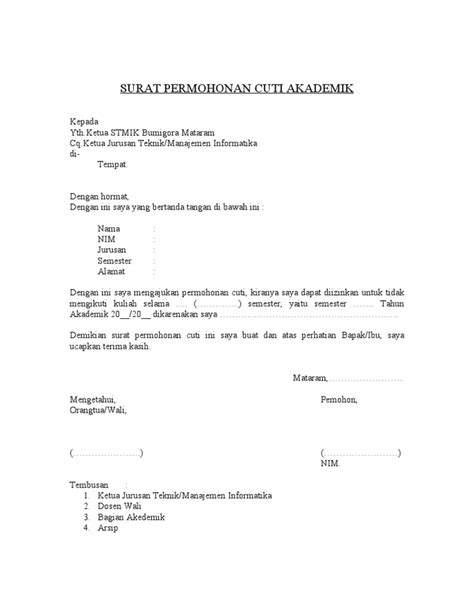 surat permohonan cuti akademik