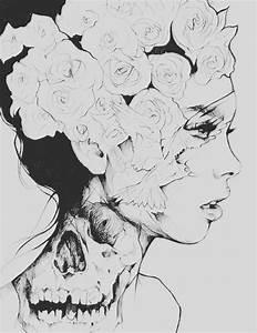 flower skull drawing | Tumblr